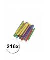 Gekleurde knutselhoutjes 216 stuks
