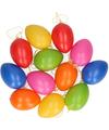 Gekleurde paasei hangdecoratie 12 stuks