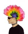 Gekleurde punker hanekam pruik neon