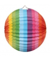 Gekleurde ronde lampion regenboog 25 cm