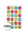 Gekleurde smiley stickers 120 stuks