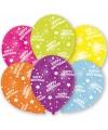 Gekleurde verjaardags ballonnen 6 stuks