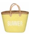 Gele rieten strandtas summer 20 liter