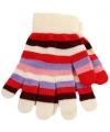 Gestreepte meiden handschoenen wit