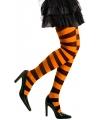 Gestreepte panty oranje zwart neon