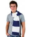 Gestreepte sjaal kobalt blauw met wit