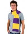 Gestreepte sjaal paars met geel