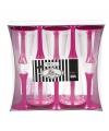 Glazen met fuchsia roze voet 10 stuks