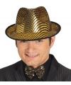 Glimmende gouden gangster hoed voor heren