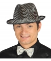 Glimmende zilveren gangster hoed voor heren