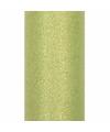 Glitter tule stof licht groen 15 cm breed