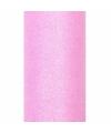 Glitter tule stof roze 15 cm breed