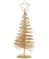 Gouden deco kerstboom met ster 21 cm