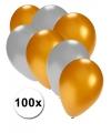 Gouden en zilveren ballonnen 100 stuks