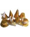 Gouden feesthoedjes glitter 50 stuks
