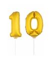 Gouden opblaas cijfer 10 op stokjes