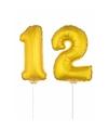 Gouden opblaas cijfer 12 op stokjes