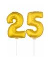Gouden opblaas cijfer 25 op stokjes