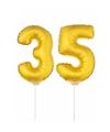 Gouden opblaas cijfer 35 op stokjes