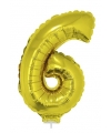Gouden opblaas cijfer 6 op stokje 41 cm