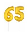 Gouden opblaas cijfer 65 op stokjes