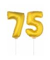 Gouden opblaas cijfer 75 op stokjes