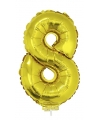 Gouden opblaas cijfer 8 op stokje 41 cm