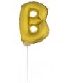 Gouden opblaas letter b op stokje 41 cm