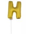 Gouden opblaas letter h op stokje 41 cm