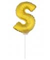 Gouden opblaas letter s op stokje 41 cm