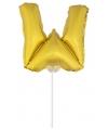 Gouden opblaas letter w op stokje 41 cm