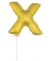 Gouden opblaas letter x op stokje 41 cm
