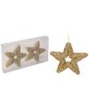 Gouden ster kerstboom hangers 13 cm