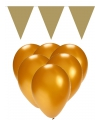 Gouden versiering 15 ballonnen en 2 vlaggenlijnen