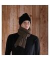 Grijs bruine gebreide sjaal 176 cm