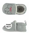 Grijze babyslofjes met olifantje maat 16 17