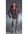 Grijze jas met rood contrast waterafstotend