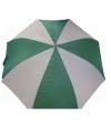 Groen met witte paraplu met houten handvat