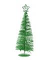 Groene deco kerstboom met ster 21 cm
