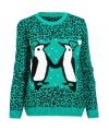 Groene kersttrui pinguin love voor dames