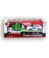 Groene politie vrachtauto met oplegger 52 cm