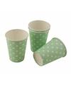 Groene wegwerp bekertjes met witte stippen 8x