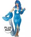 Grote maat blauw zeemeermin kostuum voor dames
