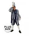 Grote maat prins carnaval kostuum blauw wit