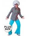 Grote maat retro disco blouse met stippen