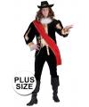 Grote maat zwart middeleeuws luxe kostuum voor heren