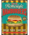 Grote muurplaat hamburgers 30x40cm