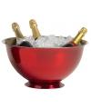 Grote rode champagne emmer op voet