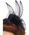 Haar clip zwarte hoed met veer en sluier