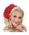 Haarbloem rode dahlia met clip